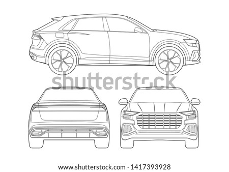 vector layout of the contour drawing of the SUV. Audi Q8.