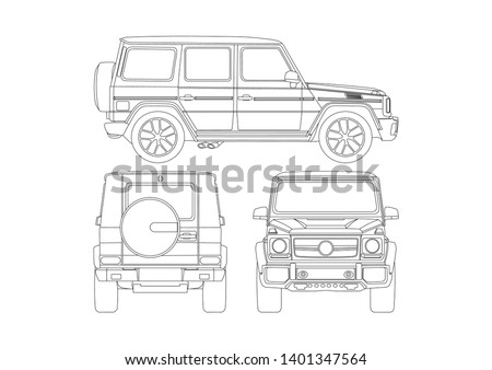 vector layout of the contour drawing of the SUV. Mercedes-Benz G-class W463.