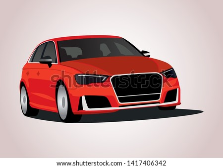 vector layout of the red German sedan. Audi RS3.