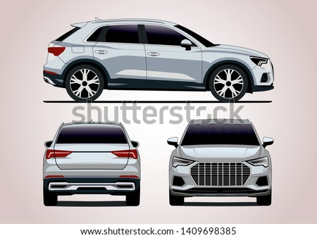 vector layout of the  silver crossover. Audi Q3.