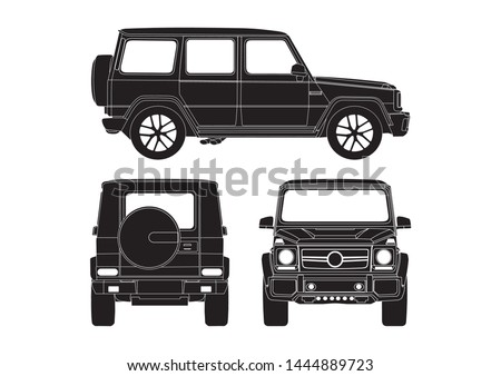 vector layout of the SUV,black color. View from three sides. Mercedes-Benz G-class W463.