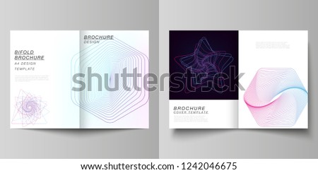 Vector layout of two A4 format cover mockups design templates for bifold brochure, flyer, report. Random chaotic lines that creat real shapes. Chaos pattern, abstract texture. Order vs chaos concept.