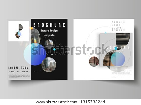 Vector layout of two square format covers design templates for brochure, flyer, magazine.Simple design futuristic concept. Creative background with circles and round shapes that form planets and stars #1315733264