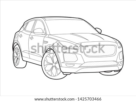 vector layout outline drawings of the English premium SUV. Compact cross Jaguar E-Pace.