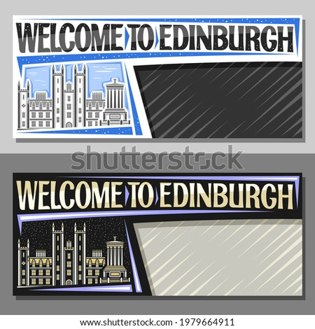 Vector layouts for Edinburgh with copy space, decorative voucher with illustration of edinburgh city scape on day and dusk sky background, art design tourist coupon with words welcome to edinburgh.