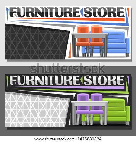 Vector layouts for Furniture Store with copy space, horizontal banner with illustration of blue and green livingroom furnitures, original typeface for words furniture store on grey abstract background