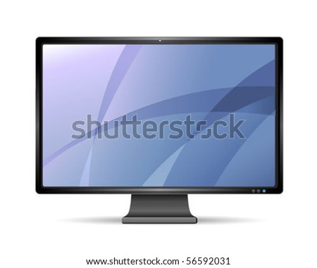 vector lcd monitor isolated on white