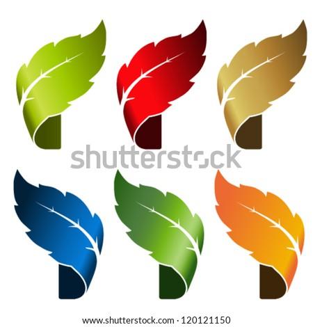 Vector leaf - bent tape, symbol for natural product