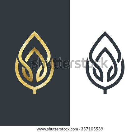 vector leaf  golden shape and