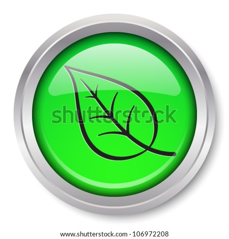 Vector Leaf Icon Glossy Metallic Button. EPS10.