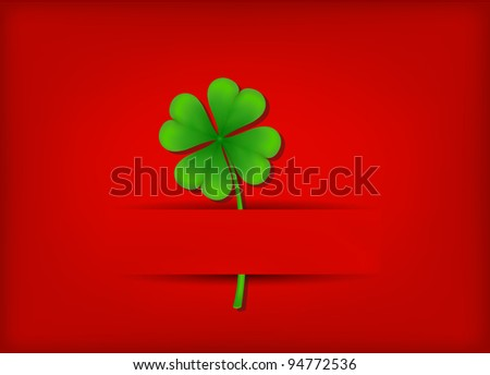 vector leaf of clover, may be used as a Saint Patrick's greeting card - stock vector