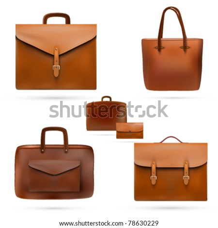 vector leather bags - stock vector
