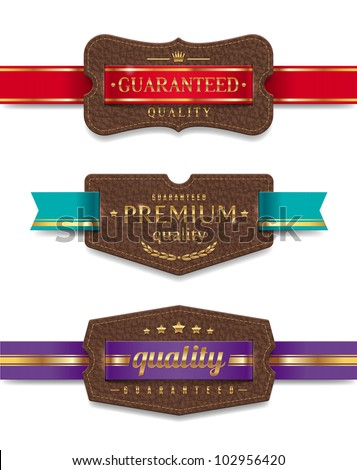 Vector leather quality labels with ribbon