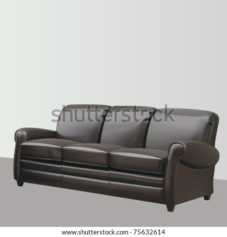 vector leather three seat couch