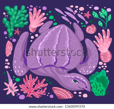 Vector leatherback sea turtle, leathery turtle (dermochelys coriacea) with corals, oyster shell, algae, tangle, sea weeds, fish, bubbles, actinia, anemone for cards invitation, clothes,