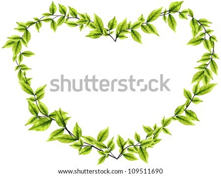 Vector leaves round frame from heart