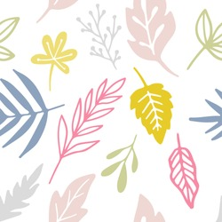 Vector leaves seamless pattern. Floral ornament. Leaf background. Botanical texture. Hand drawn textile design with plants isolated on white.