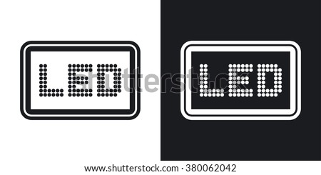 Vector LED screen icon. Two-tone version on black and white background
