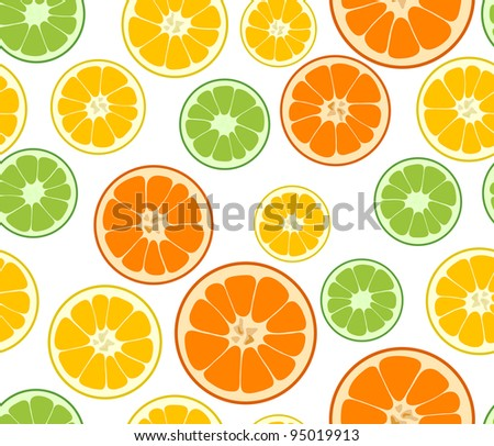 Vector lemon, lime and orange seamless background