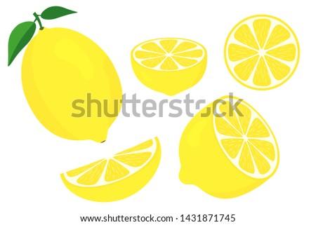Vector lemons. Fresh lemon fruits. Half and slice lemon with green leaf. Sliced lemon. Vitamin C. Slice of lemon