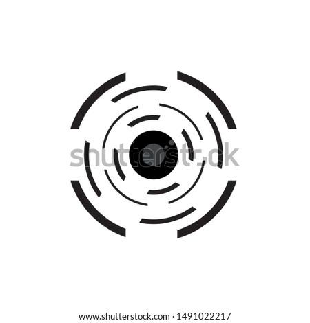 Vector lens of camera lens. Photo camera lens symbol icon