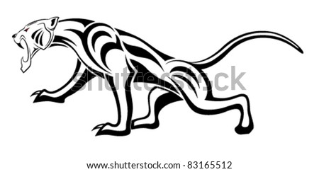 Vector leopard executed in the form of a tribal tattoo