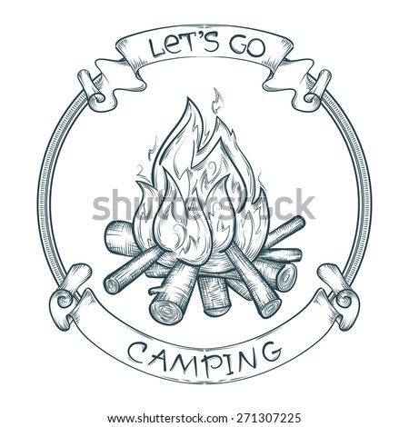 vector let\'s go camping poster with sketchy campfire