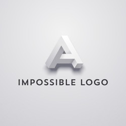 Vector letter A, impossible object, optical illusion.