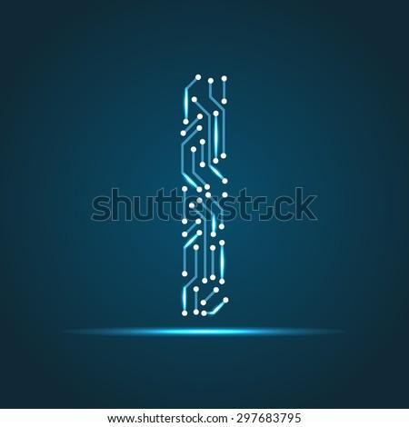 Vector letter I logo (sign, symbol, icon, design element). Technology design