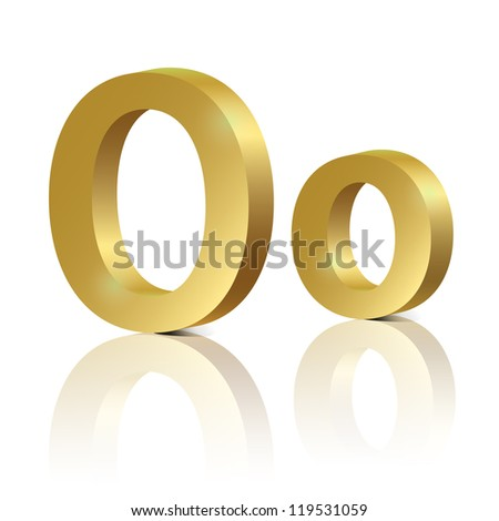 Vector letter O of golden design alphabet