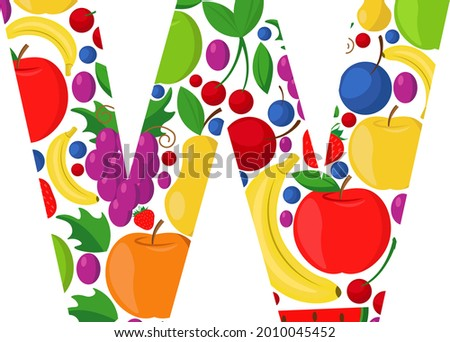 Vector letter W made of ripe fruit. An illustration on the theme of the alphabet. Zdjęcia stock ©