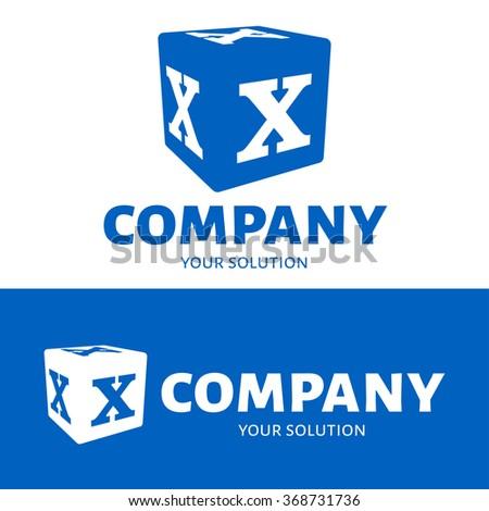 vector letter x logo the cube