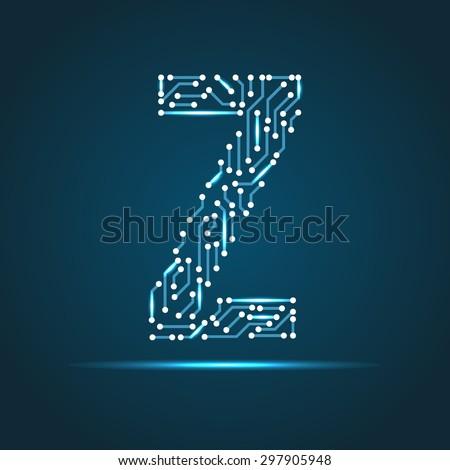 Vector letter Z logo (sign, symbol, icon, design element). Technology design