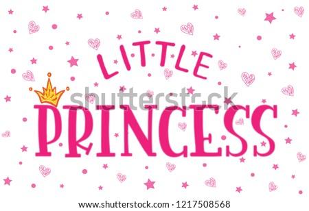 37f691e21d5e79 Vector lettering illustration. Baby girl shower card. Newborn baby girl  background. Illustration with