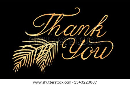 Gold Foil Thank You Lettering - Download Free Vector Art, Stock