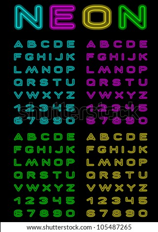 Vector letters and figures with effect neon