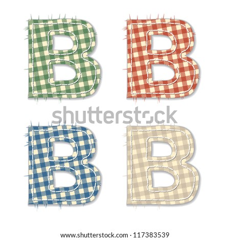 Vector letters and numbers clipped from checkered linen fabric in 4 different colors