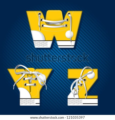 Vector letters and numbers in form of sport footwear in yellow color on stripped background