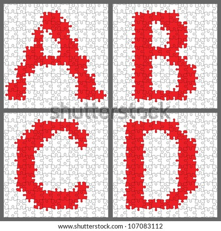 Vector letters in a jigsaw puzzle. Seamless pattern