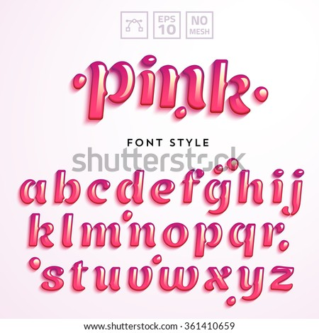 vector letters made of pink
