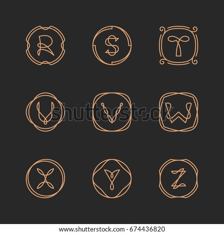 Vector letters R, S, T, U, V, W, X, Y, Z logo design template set. Alphabet label sign for branding and identity. Linear lettering emblem in ornamental frame. Type character illustration with line art Stock fotó ©