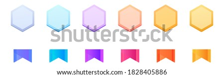 Vector level medal set. Collection icon design for the games, UI, banner, design for the app, interface, game development. Level up Award winner cartoon isolated vector level medals Stock fotó ©