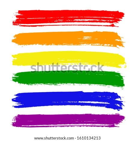 Vector lgbt flag paint strokes. Paint strokes in rainbow colors.