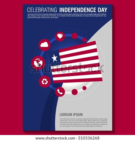 Vector Liberia Independence Day Flyer Template. Creative Brochure