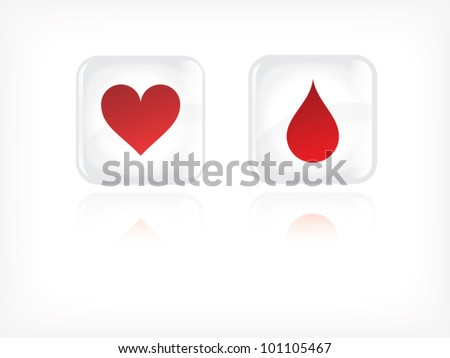 Vector - life theme buttons with hearth and blood drop illustration