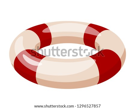 Vector lifebuoy. Subject to rescue a drowning man in the water. Life buoy concept of saving lives. Cartoon style. Vector stock illustration