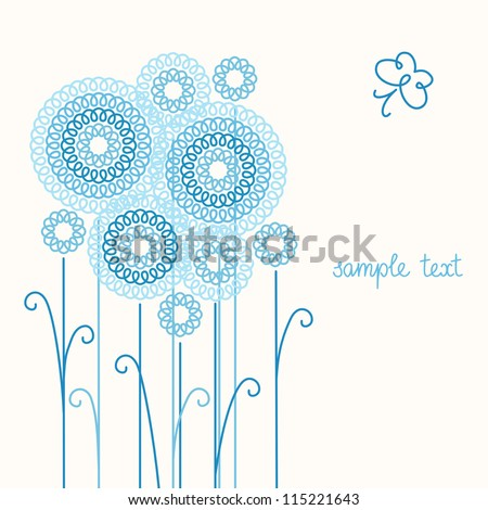 Vector light background with stylized flowers, leaves and butterfly of doodles. Invitation, greeting romantic card with text box. Abstract summery floral illustration in tints of blue for print, web