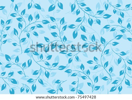vector light blue seamless texture with leaves