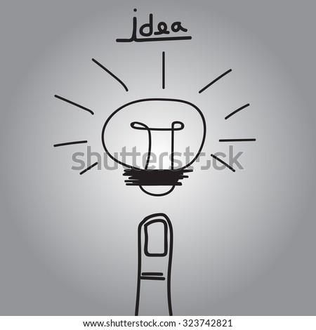 vector light bulb and finger