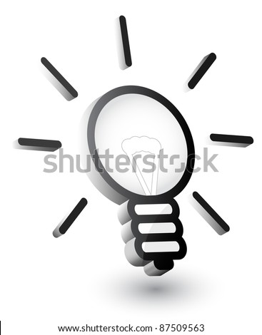 Vector light bulb, 3d - stock vector